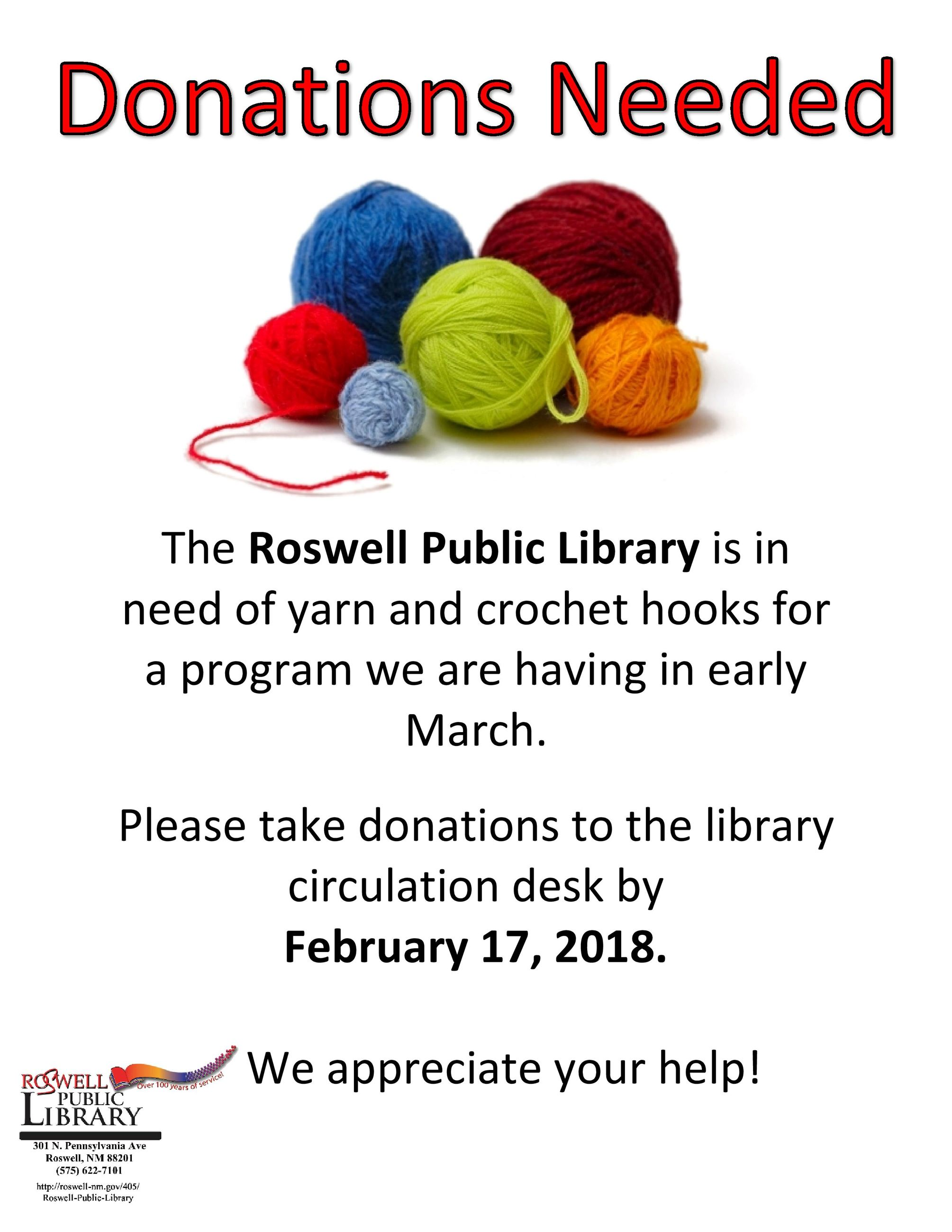 yarn and crochet hooks donation needed at the library