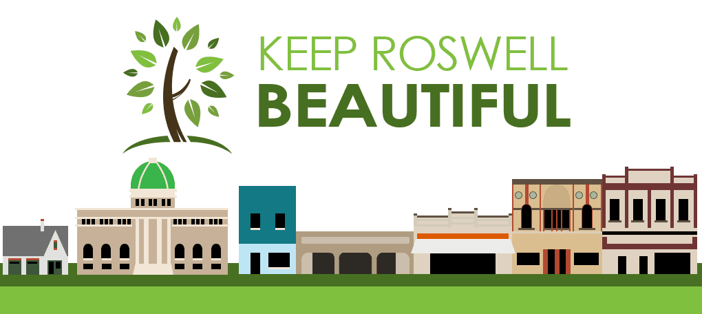 Infographic for Keep Roswell Beautiful logo, images of downtown Roswell