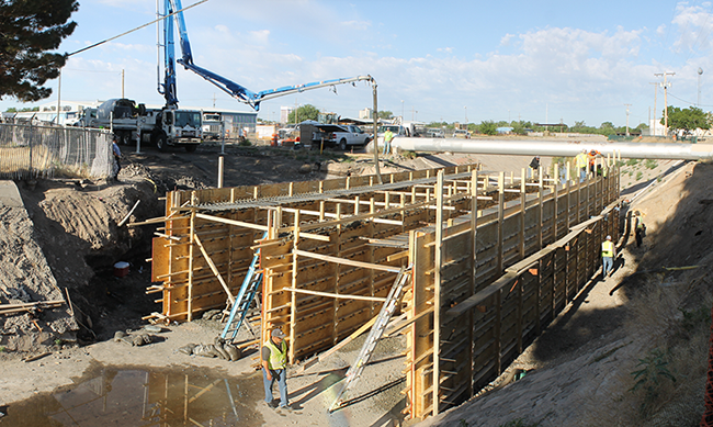 Photo of Garden bridge concrete for new wall sections