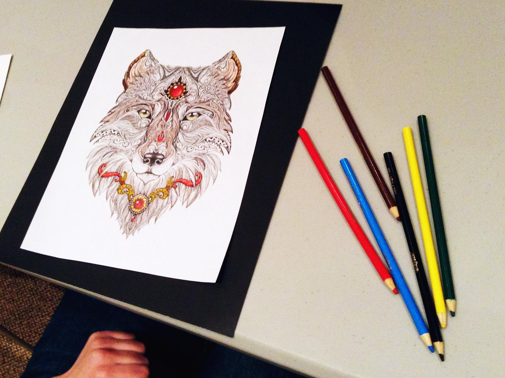 Colored pencils and coloring sheet for adults