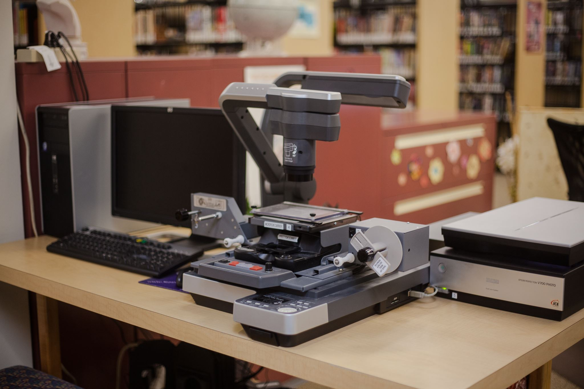 Digital scanning station with microfilm reader