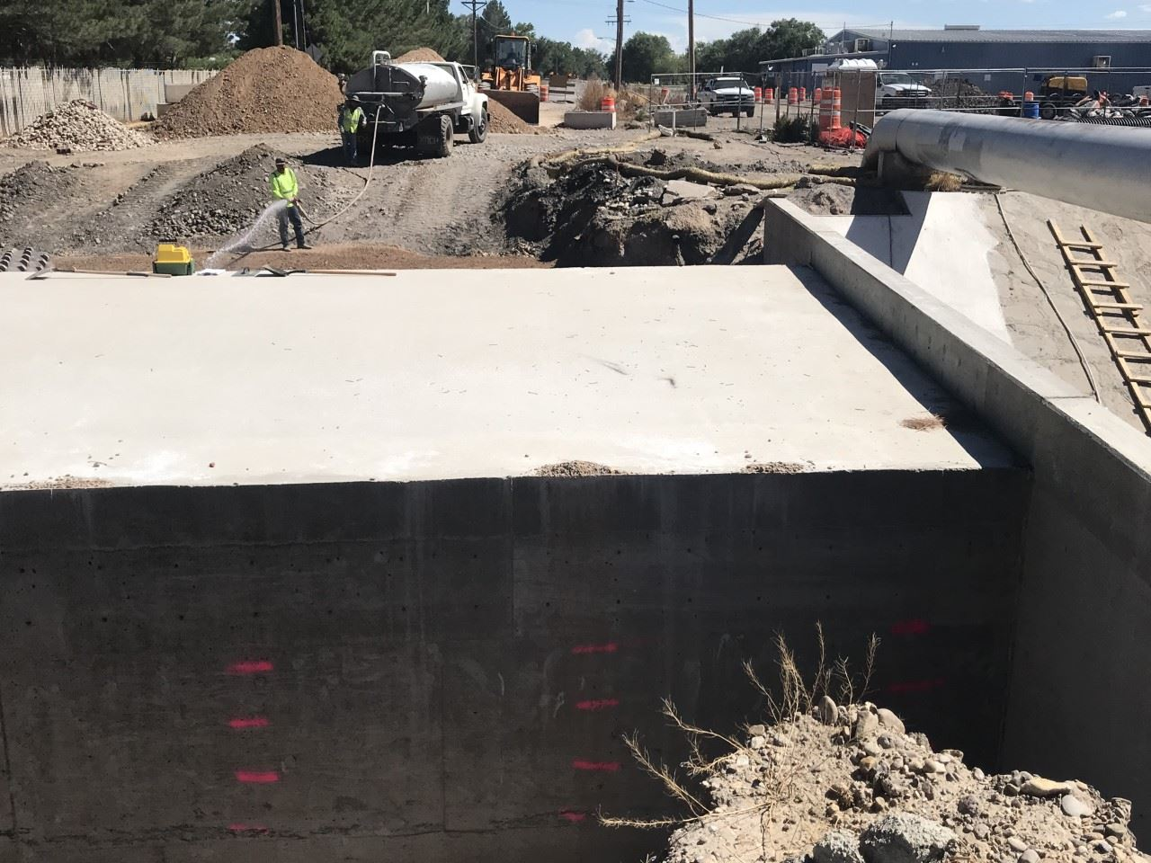 Photo of concrete bridge backfill