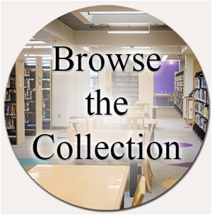 Button with image of adult reading section, links to catalog